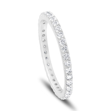Diamond Eternity Band, Platinum Wedding Ring, Womens Anniversary Ring, 0.56 Carat Stackable Ring Pave Handmade