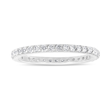 18k White Gold Eternity Diamond Ring, Pave Wedding Band, 0.56 Carat Womens Anniversary Ring, Stackable Pave Handmade