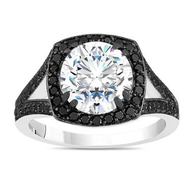 3 Carat Moissanite Engagement Ring, With Black Diamonds Wedding Ring Vintage Style 14K White Gold Halo Pave