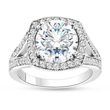 2.94 Carat Moissanite Engagement Ring, With Diamonds Wedding Ring, Forever Brilliant Moissanite Ring, 14K White Gold Halo Pave