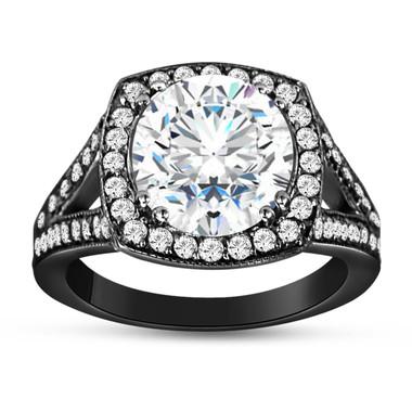 Vintage Style Moissanite Engagement Ring, With Diamonds Wedding Ring, 2.94 Carat Forever Brilliant Moissanite Ring, 14K White Gold Halo Pave