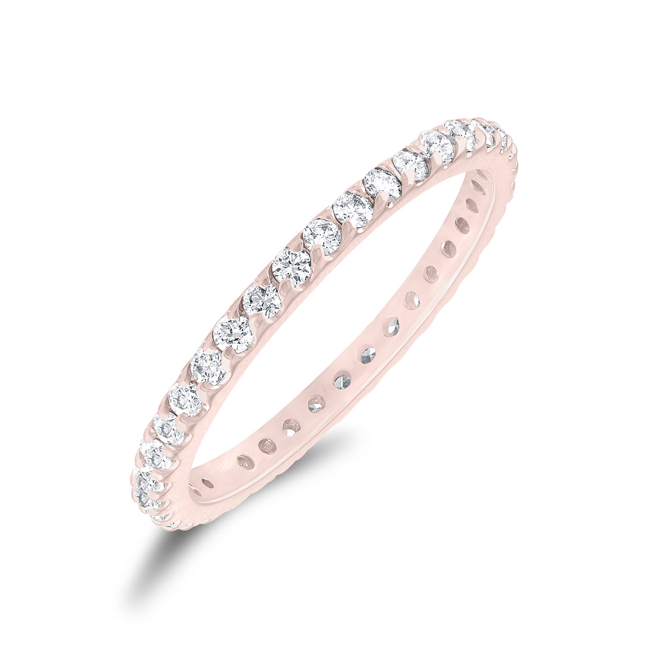 Rose Gold Diamond Eternity Band Stackable Wedding Ring Womens