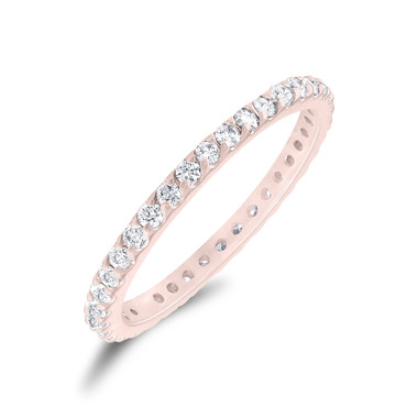 Rose Gold Diamond Eternity Band, Stackable Wedding Ring, Womens Anniversary Ring, 0.56 Carat Pave Handmade