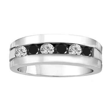 Mens Diamonds Wedding Ring, Alternating Black and White Diamonds Wedding Band, 1.60 Carat Anniversary Band 14K White Gold 7.5 mm Handmade