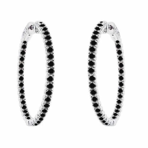 "1.25"" inch Inside Out Black Diamond Hoop Earrings 3.00 Carat 14K White Gold"