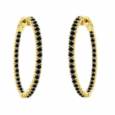 "3.00 Carat Inside Out Black Diamond Hoop Earrings 1.25"" inch 14K Yellow Gold"