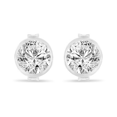0.70 Carat Diamond Stud Earrings, Bezel Set Earrings, 14K White Gold Certified Unique Handmade