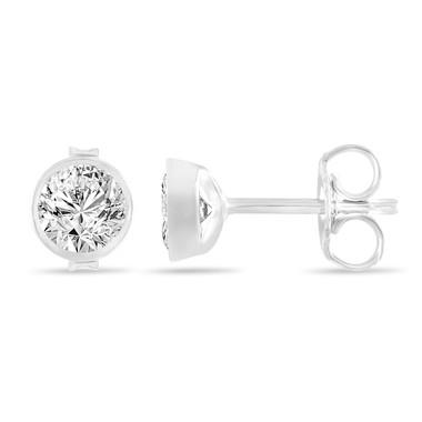 0.50 Carat Diamond Stud Earrings, Bezel Set Earrings, 14K White Gold Certified Unique Handmade
