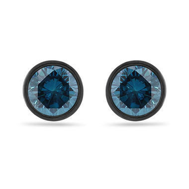 2.00 Carat Blue Diamond Stud Earrings, Bezel Set Earrings, 14K Black Gold Vintage Style Certified Handmade