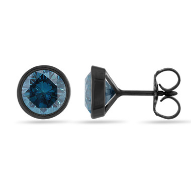 1.00 Carat Blue Diamond Stud Earrings, Bezel Set Earrings, Vintage Style Earrings, 14K Black Gold Certified Handmade