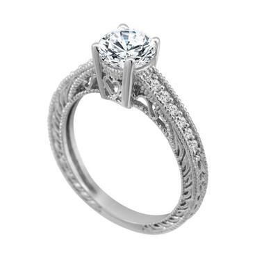 Moissanite Engagement Ring, With Diamonds Wedding Ring 0.55 Carat Vintage Style 14K White Gold