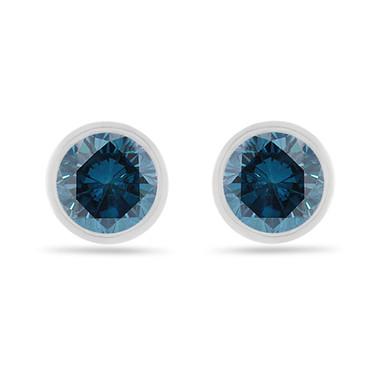 2.00 Carat Fancy Blue Diamond Stud Earrings, Bezel Set 14K White Gold Certified Handmade Unique