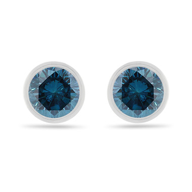 Platinum Fancy Blue Diamond Stud Earrings, 2 Carat Bezel Set Certified Handmade Unique