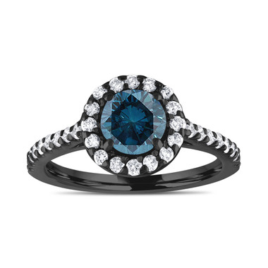 Pave Blue Diamond Engagement Ring, Vintage Style Wedding Ring, 14K Black Gold 1.55 Carat Unique Halo Pave Certified Handmade