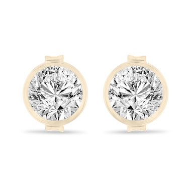 Yellow Gold Diamond Stud Earrings, Bezel Set Earrings, 0.70 Carat Certified Unique Handmade