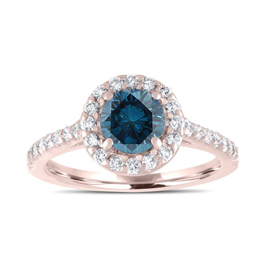 Rose Gold Blue Diamond Engagement Ring, Fancy Wedding Ring 1.55 Carat Unique Halo Pave Certified Handmade