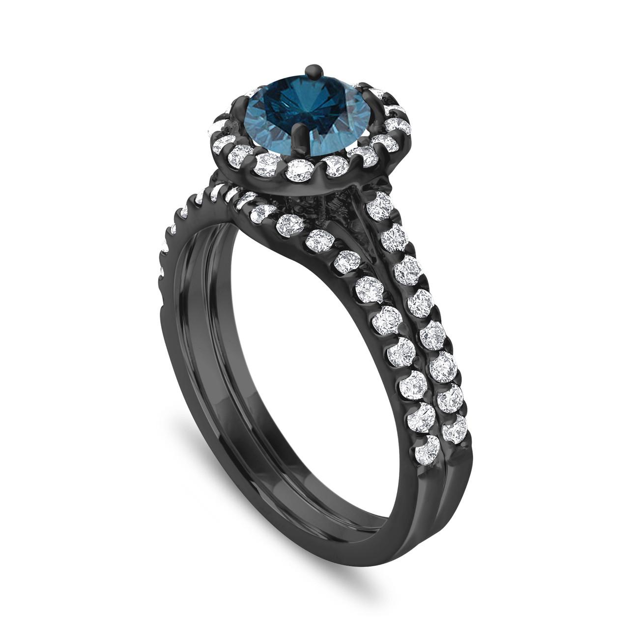 Blue Diamond Engagement Ring Set Wedding Ring Set Vintage Style