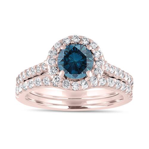 1.84 Carat Fancy Blue Diamond Engagement Ring Set, Bridal Wedding Rings Set, 14K Rose Gold Unique Halo Pave Certified Handmade