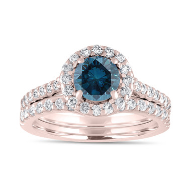 1.84 Carat Fancy Blue Diamond Engagement Ring Set, Bridal Wedding Rings Set, 14K Rose Gold Unique Halo Pave Certified Handmade