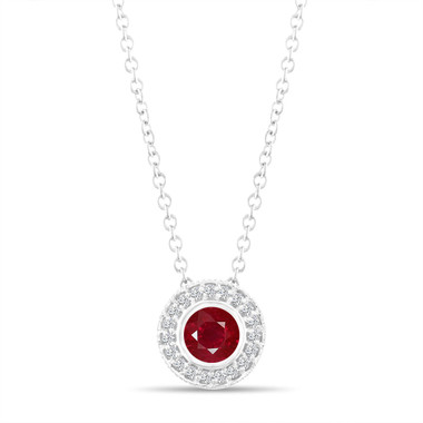 Ruby Pendant Necklace, With Diamonds Pendant, 14K White Gold 0.45 Carat Halo Bezel And Micro Pave Set Handmade