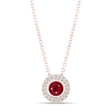 Rose Gold Ruby Pendant Necklace, With Diamonds Pendant, 0.45 Carat Halo Bezel And Micro Pave Set Handmade
