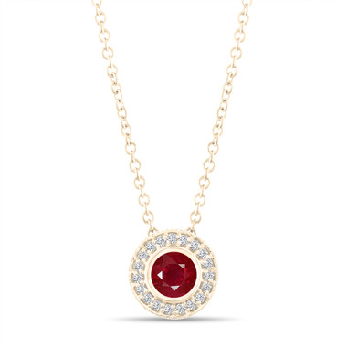 Yellow Gold Red Ruby Pendant Necklace, With Diamonds Pendant, 0.45 Carat Halo Bezel And Micro Pave Set Handmade