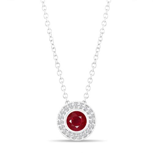 Platinum Ruby Pendant Necklace, With Diamonds Pendant, 0.45 Carat Halo Bezel And Micro Pave Set Handmade