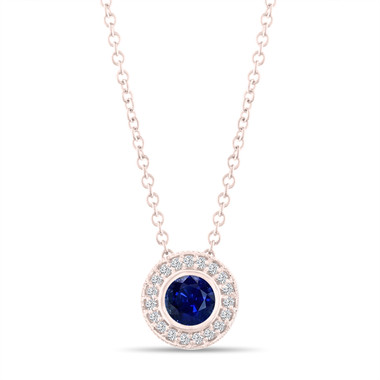 Rose Gold Sapphire Pendant Necklace, With Diamonds Pendant, 0.45 Carat Halo Bezel And Micro Pave Set Handmade