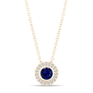 Gold Blue Sapphire Pendant Necklace, With Diamonds Pendant, 0.45 Carat Halo Bezel And Micro Pave Set Handmade