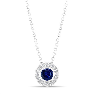 Platinum Blue Sapphire Pendant Necklace, With Diamonds Pendant, 0.45 Carat Halo Bezel And Micro Pave Set Handmade