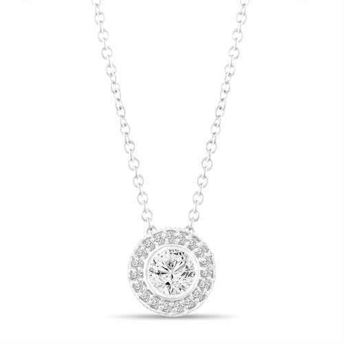 0.42 Carat Diamond Pendant Necklace, Halo Pave Pendant, 14K White Gold Bezel And Micro Pave Set Handmade