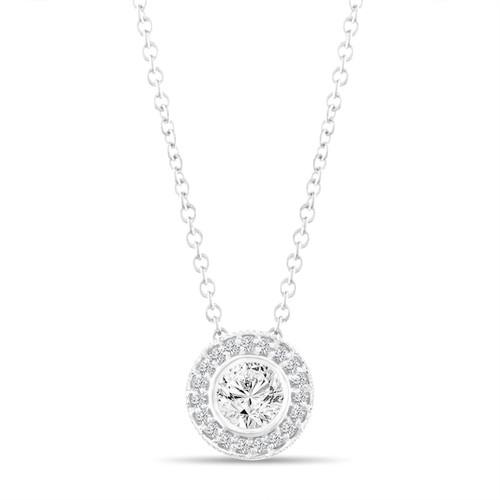Platinum Diamond Pendant Necklace, Halo Pave Pendant, 0.42 Carat Bezel And Micro Pave Set Handmade