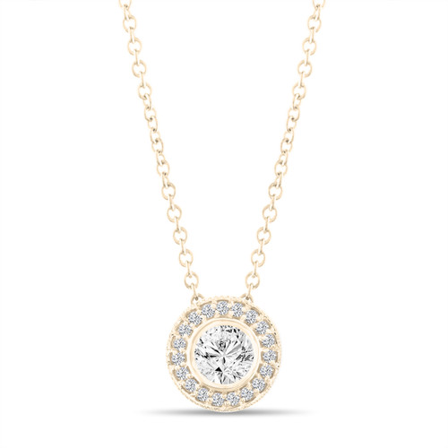 Micro Pave Diamond Pendant Necklace, Yellow Gold Pendant, 0.42 Carat Bezel Certified Handmade