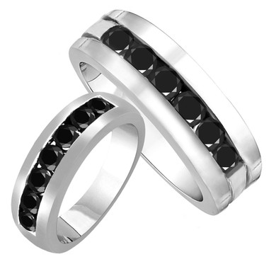 His and Hers Wedding Bands, Unique Black Diamond Matching Rings, Couple Wedding Bands Set, 3.00 Carat Half Eternity Rings, 14K White Gold