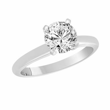 Solitaire Diamond Engagement Ring, Bridal Ring, SI1 GIA Certified 1.01 Carat 14K White Gold Handmade