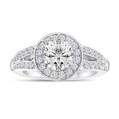 1.56 Carat Diamond Engagement Ring, Anniversary Ring, Bridal Ring, GIA Certified 14K White Gold Handmade Unique Halo Pave Certified
