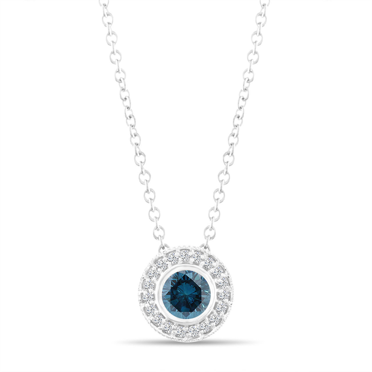 533686133 Fancy Blue Diamond Pendant Necklace 14K White Gold 0.45 Carat ...