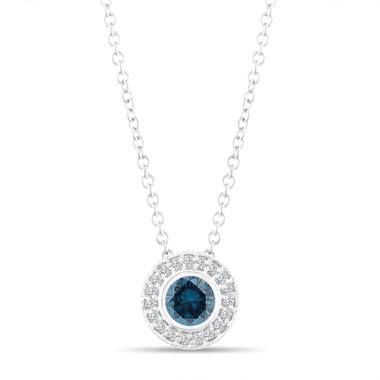 Fancy Blue Diamond Pendant Necklace 14K White Gold 0.45 Carat Halo Bezel And Micro Pave Set Handmade