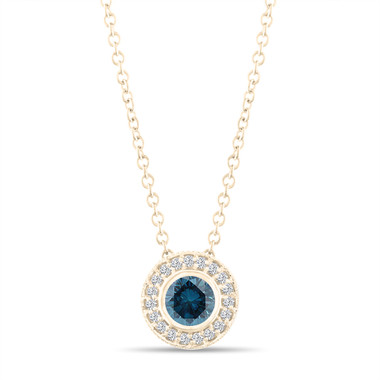 Blue Diamond Pendant Necklace 14K Yellow Gold 0.45 Carat Halo Bezel And Micro Pave Set Handmade