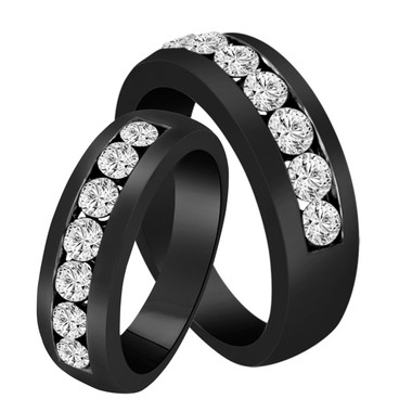 His & Hers Wedding Bands, Diamond Matching Rings, Couple Wedding Bands Set, Half Eternity Rings, Unique 1.54 Carat 14K Black Gold