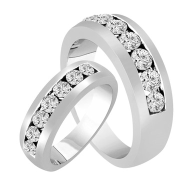 His & Hers Wedding Rings, Diamond Matching Bands, Couple Wedding Bands Set, Half Eternity Rings, Unique 1.54 Carat 14K White Gold