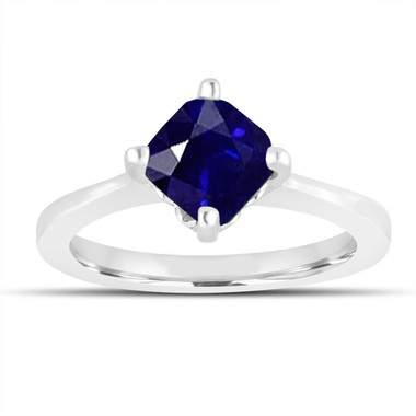1.75 Carat Sapphire Engagement Ring, Cushion Cut Bridal Ring, Solitaire Engagement Ring, 14K White Gold Unique Gallery Design handmade