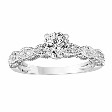 Platinum Diamond Engagement Ring, Vintage Style Bridal Ring, 0.80 Carat Wedding Ring, G VS2 GIA Certified Unique Handmade