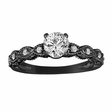 GIA Certified Diamond Engagement Ring, Vintage Style Bridal Ring, Wedding Ring FVS2 0.60 Carat 14K Black Gold Unique Handmade