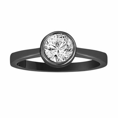 Vintage Style Diamond Engagement Ring, Solitaire Bridal Ring, Bezel Set Wedding Ring 0.50 Carat GIA Certified 14K Black Gold Unique Handmade