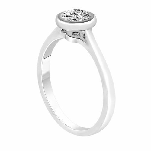 0.50 Carat Diamond Engagement Ring, Solitaire Bridal Ring, Bezel Set Wedding Ring GIA Certified 14K White Gold Unique Handmade