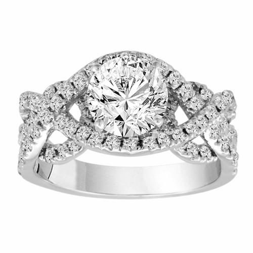 2.04 Carat Diamond Engagement Ring, Gia Certified Unique Bridal Ring, Wedding Ring, Anniversary Ring, 14K White Gold Handmade Halo Pave