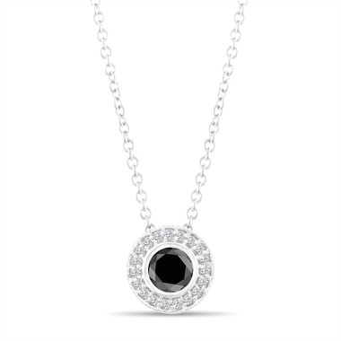 Black Diamond Pendant Necklace 14K White Gold 0.50 Carat Halo Bezel And Micro Pave Set Handmade