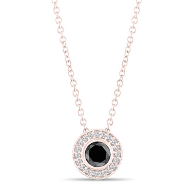 Fancy Black Diamond Pendant Necklace 14K Rose Gold 0.50 Carat Halo Bezel And Micro Pave Set Handmade