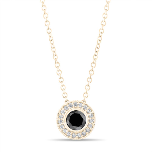 Black Diamond Pendant Necklace 14K Yellow Gold 0.50 Carat Halo Bezel And Micro Pave Set Handmade